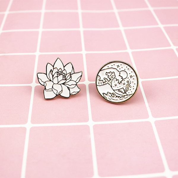Waves Round Brooches Plant Flowers Enamel Pin For Boys Girls Lapel Pin Hat/Bag Pins Denim Jacket Shirt Women Brooch Badge L425 by Wish
