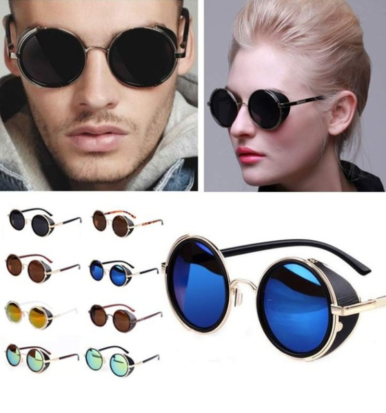 7af73c22e3982 Steampunk Sunglasses Women Round Glasses Goggles Men Side Visor ...