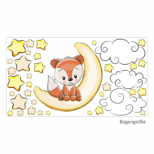 011 Wandtattoo Fuchs Sitzt Auf Mond Sterne Kinderzimmer Baby Wolke