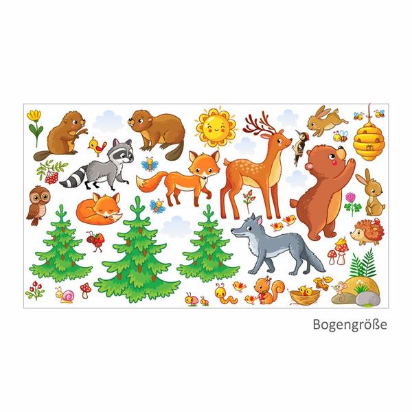 081 Wandtattoo Waldtiere Kinderzimmer Sticker Aufkleber Bar Fuchs Eule 1250 X 700 Mm
