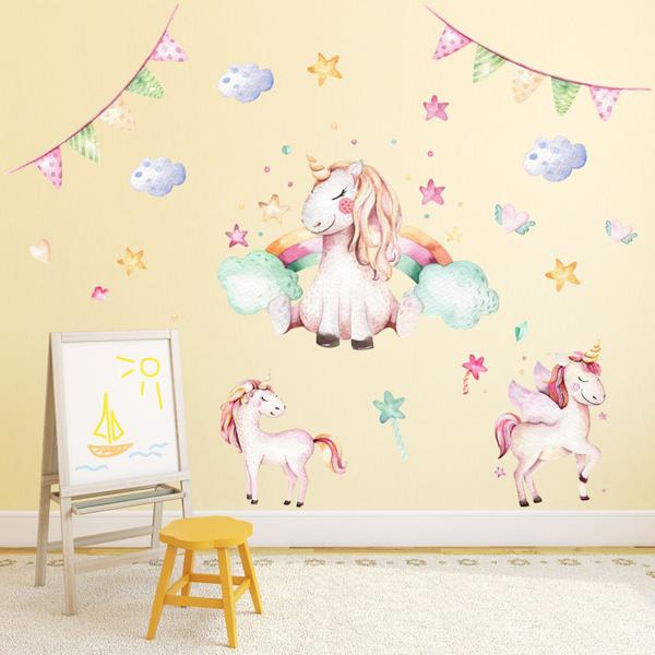 Wish 074 Wandtattoo Einhorn Pastell Regenbogen Kinderzimmer Baby