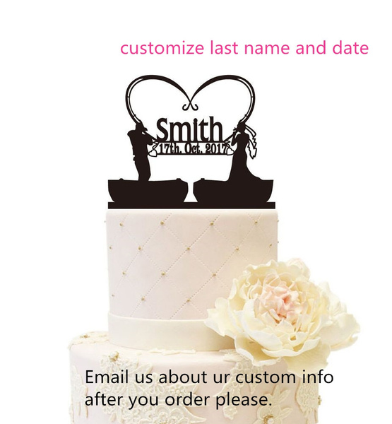 Pleasing Couple Fishing Boat Cake Topper Bride And Groom Wedding Funny Birthday Cards Online Eattedamsfinfo