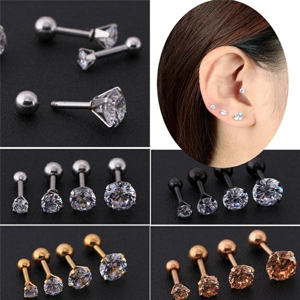 8a2996a3e90 2 Pcs/Set Titanium Zircon Earrings Diamond stud earrings(size: 3 4 5 6mm)