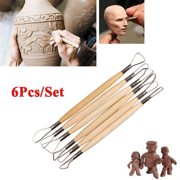 Tenflyer Pack of 6 Wood Handle Wax Pottery Clay Sculpture Carving Tool DIY Craft Set