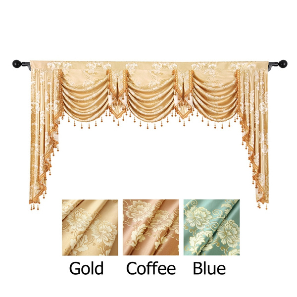 Floral Curtain Valance for Window European Royal Luxury Swags Valance  Curtains for Living Room Jacquard Window Curtains for Bedroom Waterfall  Valance ...