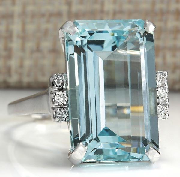 Sterling, wedding ring, 925 silver rings, aquamarinering