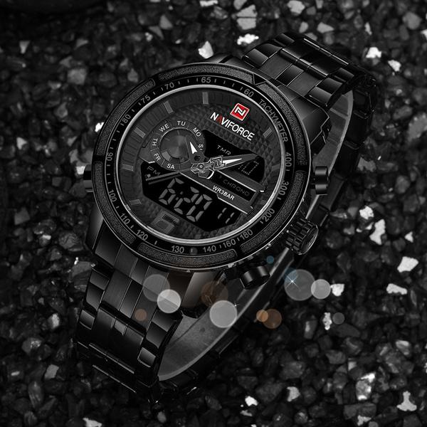 Quarz Voller Männer Stahl Uhr Military Herren Armbanduhr Army Sport Uhren Naviforce Luxusmarke Mann Digital XkZOPiu