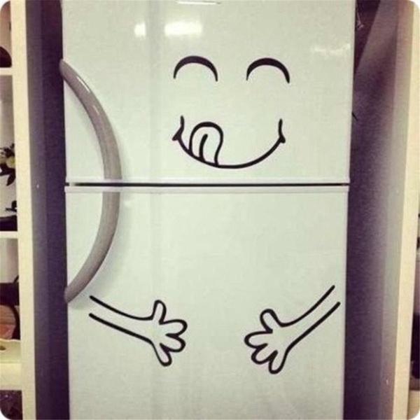 Home Decor Kitchen Vinyl Cute Sticker Delicious Face Wall Refrigerator Fridge