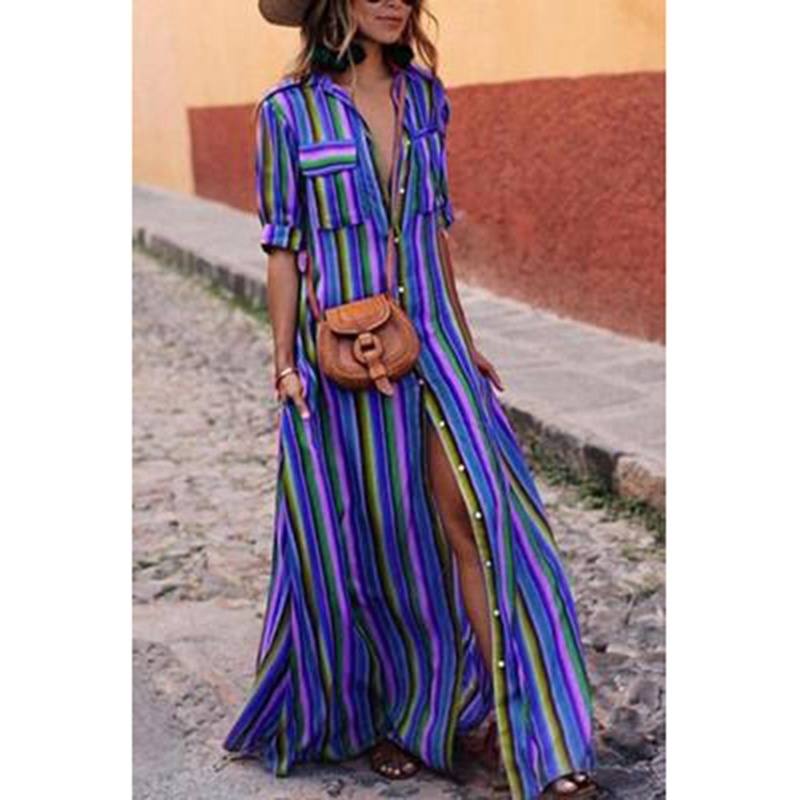 Compre Vestido Maxi Largo Flojo Ocasional De Las Mujeres Del Verano ...