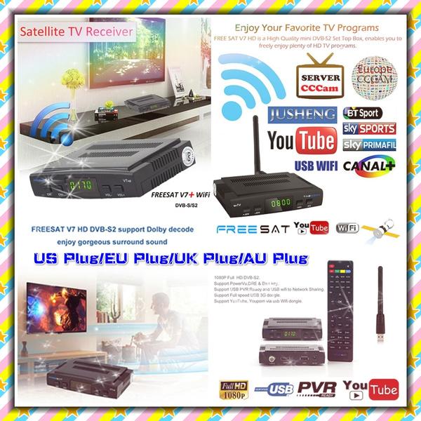 High quality Freesat V7 Full Compatible Decoder Digital Video Broadcasting  Receptor Set Top Box Satellite TV Receiver DVB-S2(US Plug/EU Plug/AU