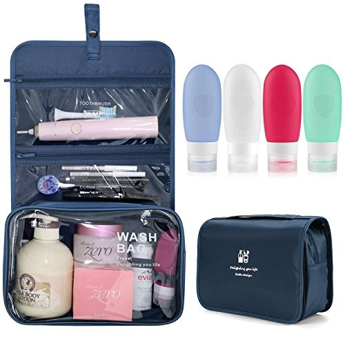 74a9f51521c4 Xultrashine Hanging Travel Toiletry Bag with 4 Refillable Silicone Travel  Bottles Toiletry Organizer Kit Makeup Bag for Travel Accessories, Shampoo,  ...