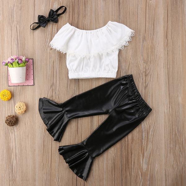 b373320c4aee95 3pcs Toddler Kid Baby Girl Clothes Set Casual Off Shoulder Ruffled ...