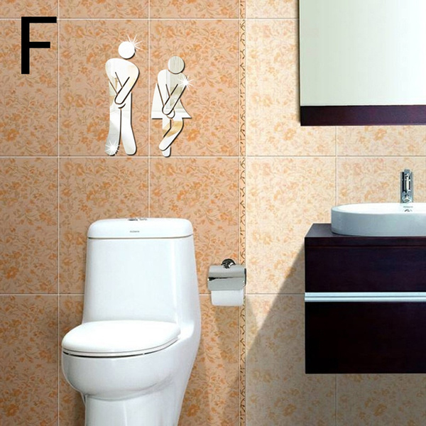 Wish | 3D Toilet Washroom Mirror Man Women Decor Removable Decal ...