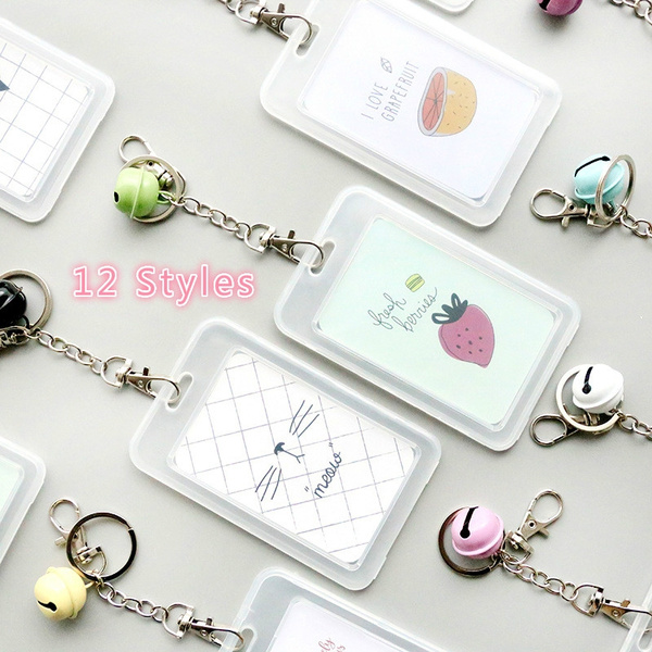 227957ccbb Cartoon Transparent Plastic Card Holder Keyring Sleeve Set Bank Card ID  Card Bus Card holder Case Bag with Bell Chain