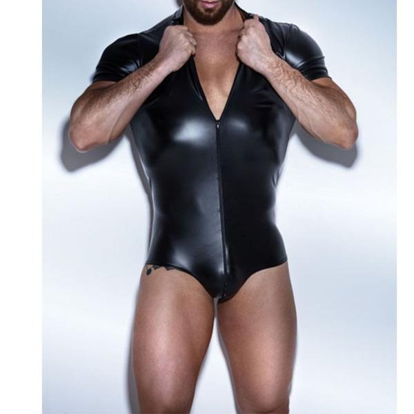 38f2f48695dc1 Men Bodysuit Faux leather Latex Bodysuit Gay Underwear Stage Dance ...