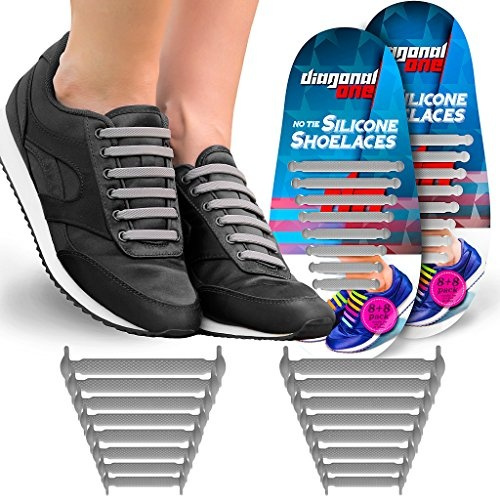51a10e3be5325 Diagonal One No Tie Shoelaces for Kids & Adults. THE Elastic Silicone Shoe  Laces to Replace your Shoe Strings. 16 Slip On Tieless Flat Silicon ...