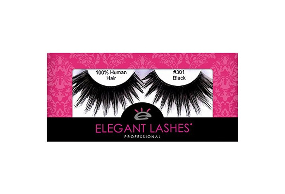 497311d355d Elegant Lashes #301 Thick Long Black Human Hair False Eyelashes for Drag  Queen Halloween Dance Rave Costume | Wish