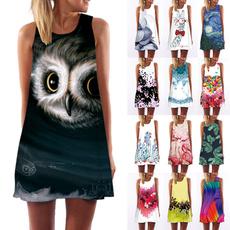 Summer, Vest, Print Dresses, Dress