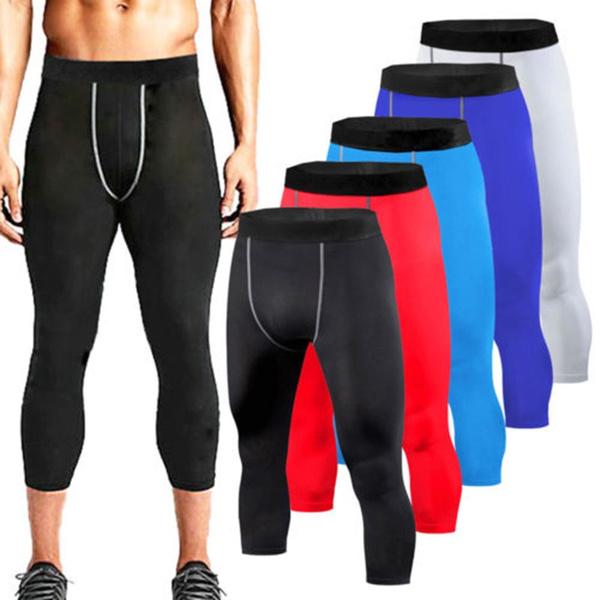Mens Compression Tights Fitness Gym Training Underwear Shorts Spandex Stretchy