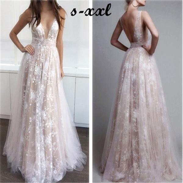 Vestido De Noiva 2018 Deep V Neck Boho Wedding Dress Plus Size Brautkleid Bride Dress Lace Bohemian Prom Dresses Backless