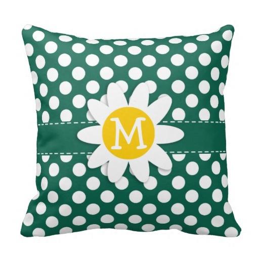 Fabulous Cute Daisy Bottle Green Polka Dots Throw Pillow Covers Cover Machost Co Dining Chair Design Ideas Machostcouk