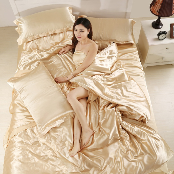 Beige Silk Soft Smooth Satin Silk-like bedding sets Bed cover Bed Set Duvet  Cover Set Quilt Covers Bedroom Bedding Sets for Nude sleep(Twin Double ...