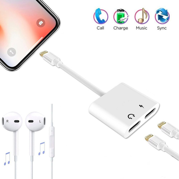 Iphone 7 charger and headphones adapter,Dual Lightning Headphone Jack adapter Audio and Charge Splitter for iPhone X/8/8 Plus/7/7 Plus,Support Music ...