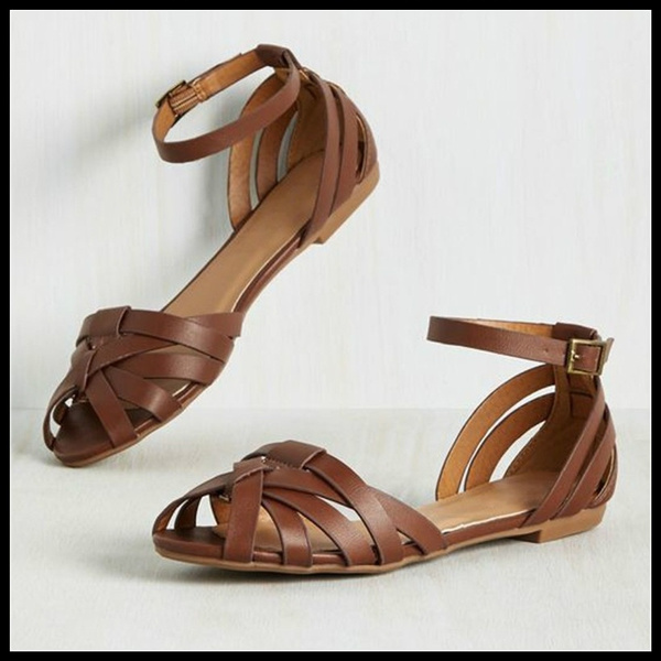 Women Casual Vintage Peep Toe Flat