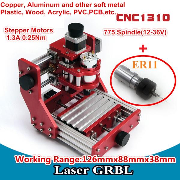 3 Axis DIY Mini Desktop 1310 CNC Router Wood Cutting PVC PCB Milling  Aluminum Copper Metal Engraving Carving Machine Laser Machine+ER11  Collet+GRBL