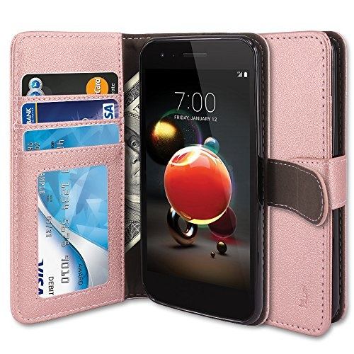 LG Aristo 2 Case, LG Tribute Dynasty Case, LG Zone 4 Case, LG Fortune 2  Case, TAURI Kickstand [PU Leather] Wallet Case Protective Flip Cover For LG