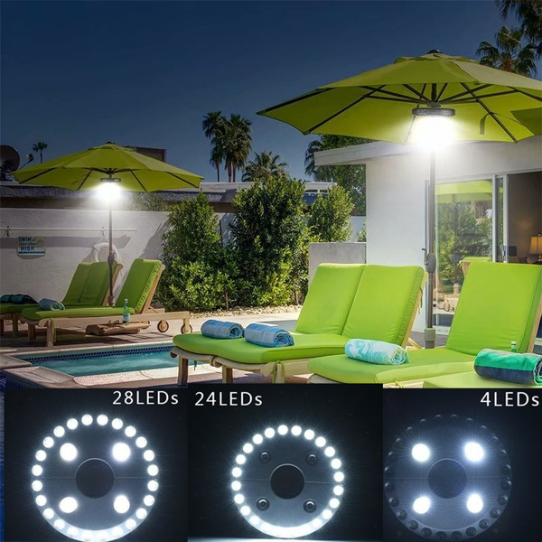 28 LED Patio Umbrella Pole Lights Outdoor Tent Lamp 3 Lighting Mode Cordless