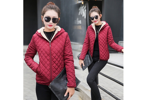 XS-XXL Winter Woman Cotton Casual Light Cotton Clothing Lamb Wool Jacket Plus Velvet Ladies Windbreaker