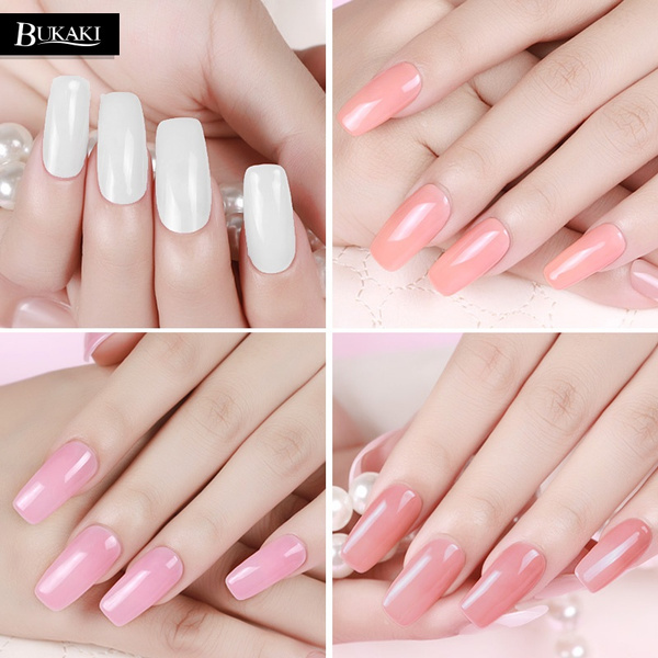 Home Bukaki 8 Colors French Nail Art Tips Long Lasting Extending Gel Lacquer Crystal Jelly Uv Builder For Extension