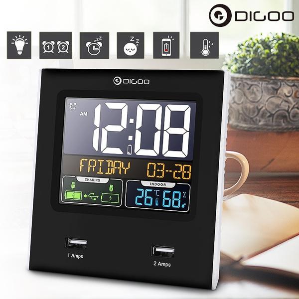 Digoo Backlight Alarm Clock LED Temperature Humidity Snooze Function with 2 USB
