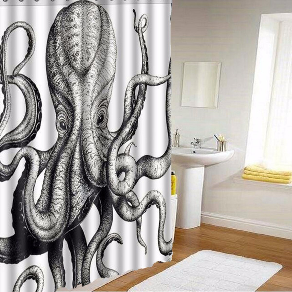 Octopus, Polyester, Bathroom, Fashion