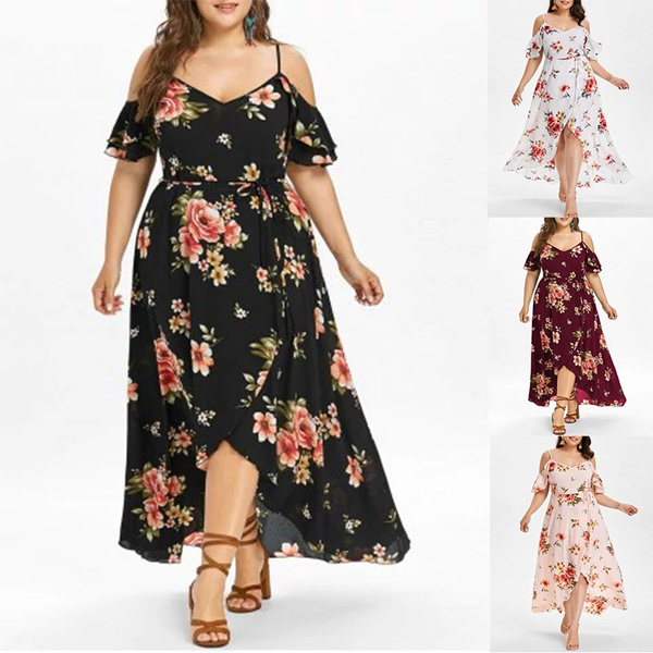 Women\'s Fashion Plus Size Hawaiian Cold Shoulder Maxi Dress