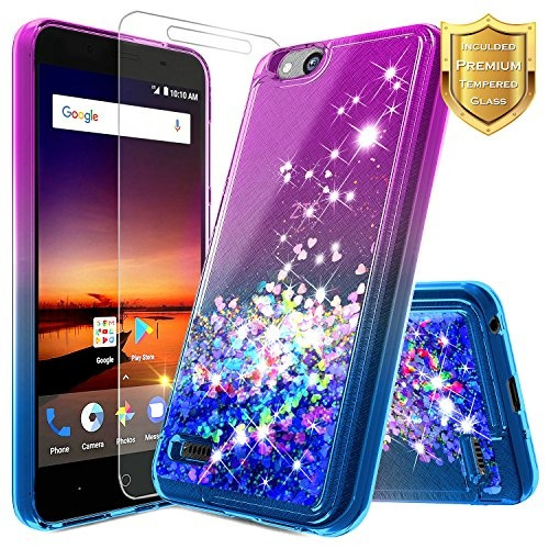 NageBee Glitter Quicksand Liquid Floating Sparkle Bling Case w/ [Tempered  Glass Screen Protector] For ZTE ZFive G / ZFive C (Z557BL, Z558VL), ZTE