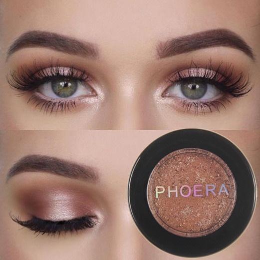 PHOERA glitter metal eyeshadow makeup glitter eye shadow natural eye shadow  palette