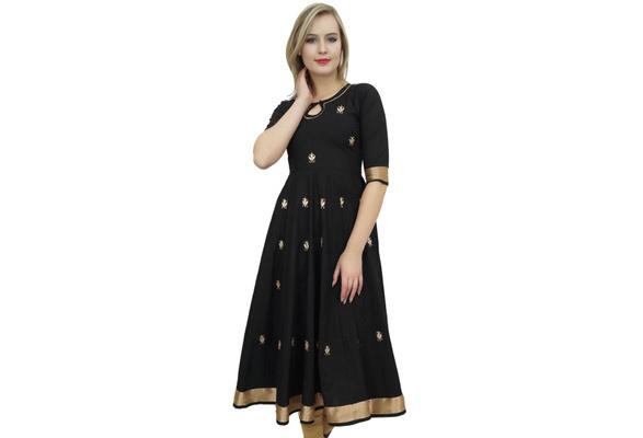 Bimba Designer Green Anarkali Kurta Indian Ethnic Gota Work Cotton Kurti