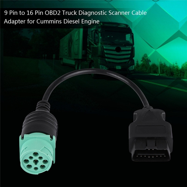 Mini Cummins Engine 9 Pin to 16 Pin OBD2 Truck Diagnostic Scanner Cable  Adapter