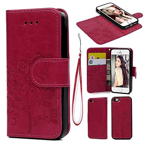 purchase cheap 0e006 43581 iPhone 5 5S SE Case, iPhone 5 5S SE Wallet Case PU Leather Oil Wax Embossed  Elephant Detachable Magnetic Wallet Flip TPU Inner Cover Credit Card Slots  ...