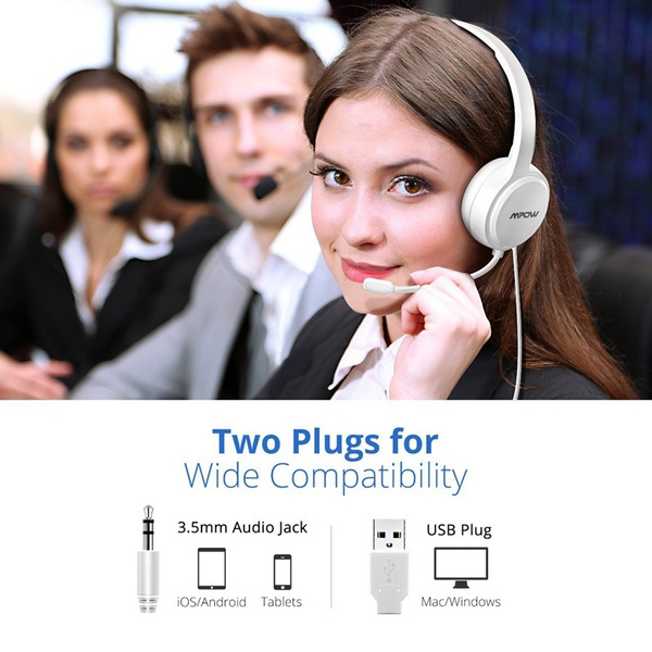 Mpow 071 USB Headset/3 5mm Computer Headset with Microphone Noise  Cancelling, Lightweight PC Headset Wired Headphones, Business Headset for  Skype,