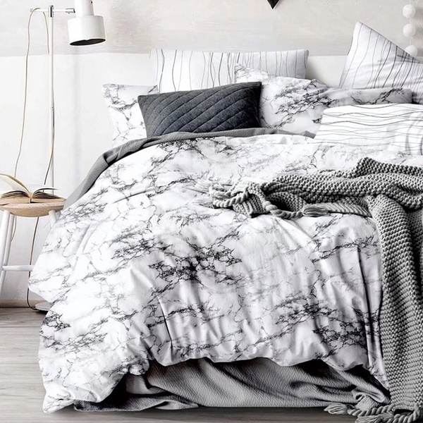 Brief Marble Lines Chic Marble Comforters Bedding Set Duvet Cover