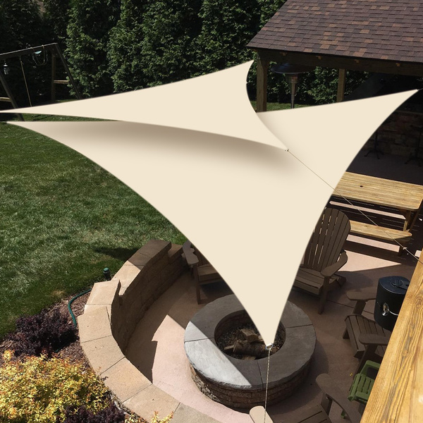 Enhanced D Ring Sun Shade Sail Garden Patio Swimming Pool Awning Canopy  Sunscreen UV Outdoor(Triangle,4 colors,2 size)