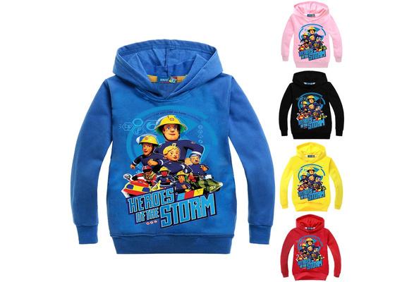 Kid Boys Girls Fireman Sam Cartoon Casual Hoodie Pullover Sweatshirt Long Sleeve