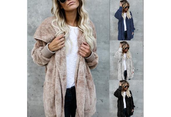 Winter Plush Warm Cotton CoatWomen Hooded Coat Cardigan Warm Loose Sweater Long Sleeve Fur Coat Outwear