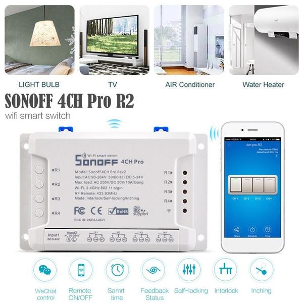 Sonoff 4CH Pro R2 Smart Wifi Switch Home 433MHz RF Wifi Light Switch 4 Gang  3 Working Modes Inching Interlock With Alexa