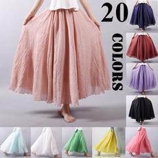long skirt, Vintage, Pleated, Moda femenina