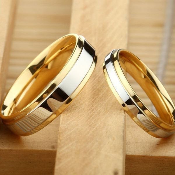 Gold Wedding Rings.2018 New Luxury 18k Gold Wedding Rings Simple Design Couple Alliance Ring 4mm 6mm Width Band Ring For Women And Men Lover Rings