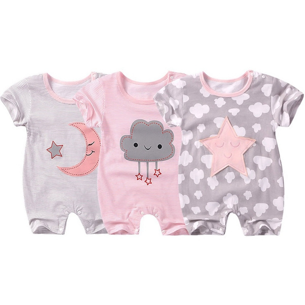 Baby Short Sleeve Cotton Jumpsuit Cute Star Cloud Moon Printed Rompers Overalls Newborn Baby Boy Girl Clothes by Wish